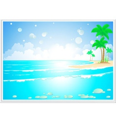 Tropical landscape with ocean wave vector