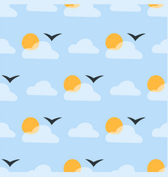Weather seamless pattern cloud sky vector