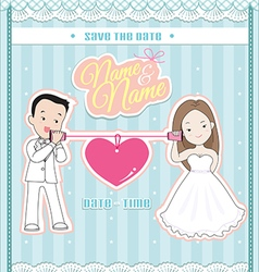 wedding invitation card cute couple talking phone vector image