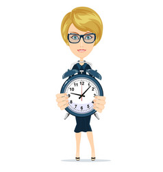 Woman with alarm clock vector