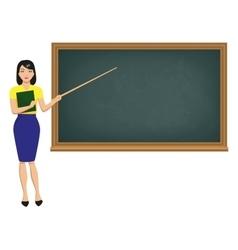 Teacher with pointer standing blackboard vector