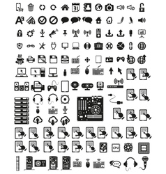 Set of computers and hardware icons vector