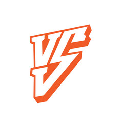 Versus letters logo red letters v and s flat vector