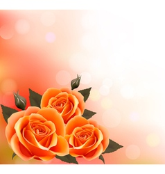 Holiday background with three beautiful flowers vector