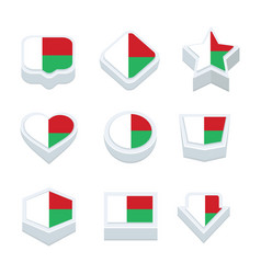 Madagascar flags icons and button set nine styles vector