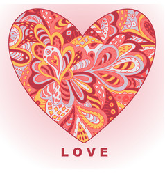 heart ethnic doodle love valentines day drawing vector image