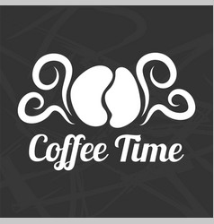 Coffee time logotype design isolated on black vector