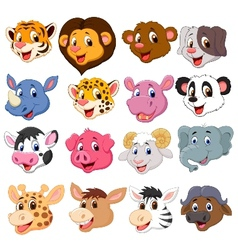 Cartoon animal head collection set vector