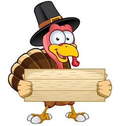 Turkey mascot holding wooden sign vector