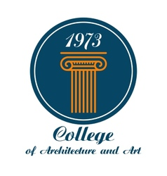 College of architecture and art emblem vector