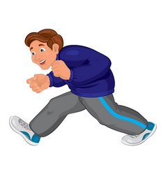 Cartoon man in gray running pants and blue top vector