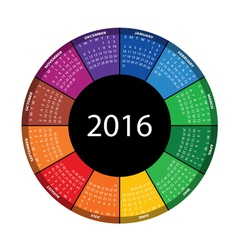 Colorful round calendar for 2016 year vector