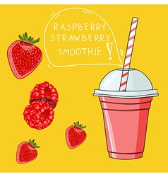 Glass with raspberry strawberry smoothie natural vector