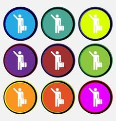 Tourist icon sign nine multi colored round buttons vector