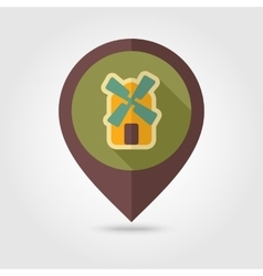 Windmill flat mapping pin icon with long shadow vector