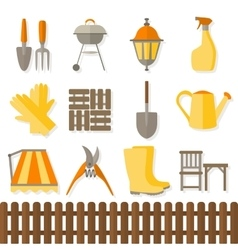Flat design set of gardening tool icons vector