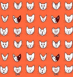 Sketch cat face seamless pattern vector