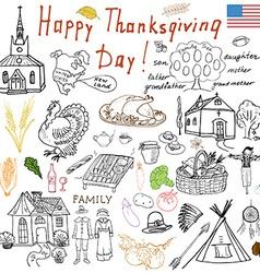Thanksgiving doodles set traditional symbols vector