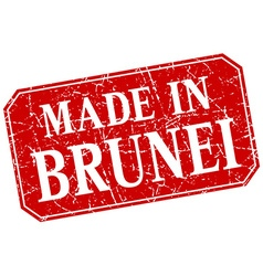 Made in brunei red square grunge stamp vector