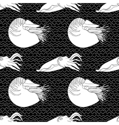 Detailed seamless pattern with mollusks vector