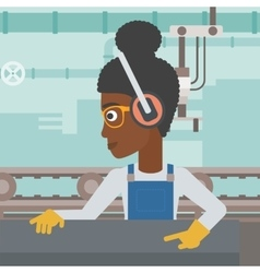 Woman working on metal press machine vector