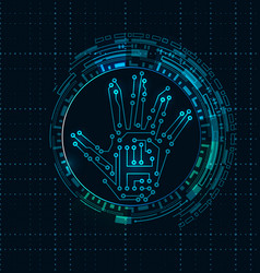 abstract hand with scan electronic technology vector image