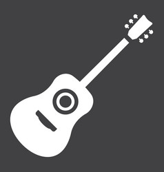 acoustic guitar glyph icon music and instrument vector image vector image