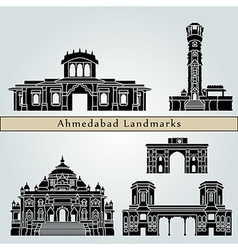 Ahmedabad landmarks and monuments vector