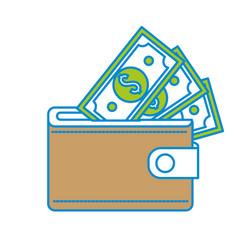brown wallet with green dolars bills inside vector image