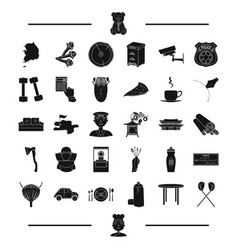 Car table and other web icon in black stylestick vector