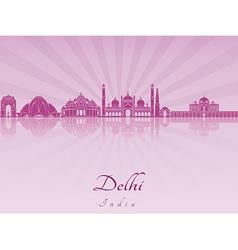 Delhi skyline in purple radiant orchid vector