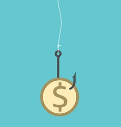 Dollar coin on hook vector image