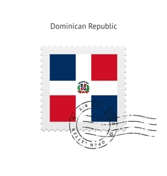 Dominican republic flag postage stamp vector