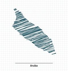 Doodle sketch of aruba map vector