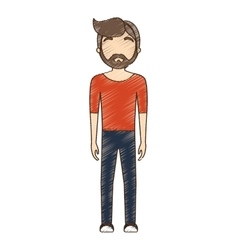 drawing avatar bearded man red shirt standing vector image