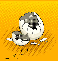 eggshell with timestamps pop art vector image vector image
