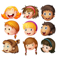 faces of boys and girls on white background vector image
