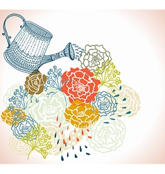 Floral background with watering can vector