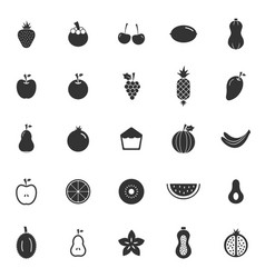 Fruit icons on white background vector