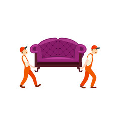 furniture delivery service icon with workers vector image vector image