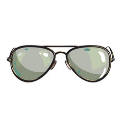 hand drawn aviator sunglasses in metal frame with vector image