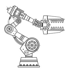 Industrial robot hand image on the isolated vector