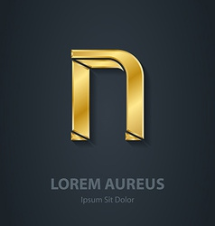 Letter N elegant gold font Template for company vector image