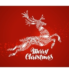 Merry Christmas greeting card Decorative xmas vector image