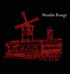 moulin rouge in red colors on black background vector image