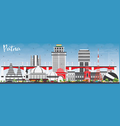 patna skyline with gray buildings and blue sky vector image vector image