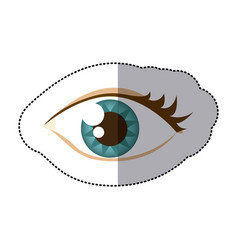 Sticker cartoon human female eye with eyelash vector