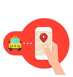 Taxi call through mobile application vector