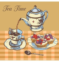 Teapot and cup english tea vector image