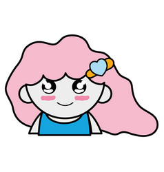 Tender girl with hairstyle to kawaii avatar vector